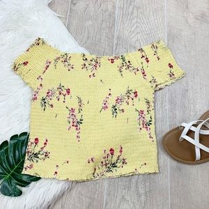 Kendal&Kylie Floral Yellow Stretch Crop D1383